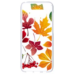 Beautiful Autumn Leaves Vector Samsung Galaxy S8 White Seamless Case