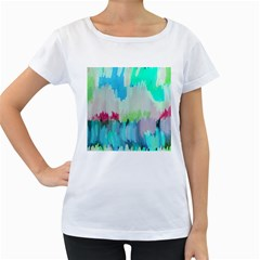 Abstract Background Women s Loose Fit T Shirt (white)