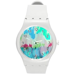Abstract Background Round Plastic Sport Watch (m)