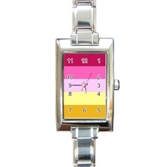 Red Orange Yellow Pink Sunny Color Combo Striped Pattern Stripes Rectangle Italian Charm Watch