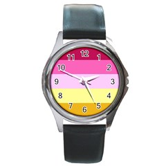 Red Orange Yellow Pink Sunny Color Combo Striped Pattern Stripes Round Metal Watch