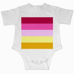 Red Orange Yellow Pink Sunny Color Combo Striped Pattern Stripes Infant Creepers