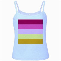 Red Orange Yellow Pink Sunny Color Combo Striped Pattern Stripes Baby Blue Spaghetti Tank