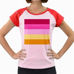 Red Orange Yellow Pink Sunny Color Combo Striped Pattern Stripes Women s Cap Sleeve T Shirt