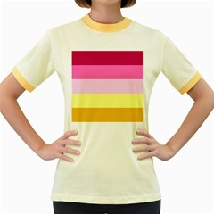 Red Orange Yellow Pink Sunny Color Combo Striped Pattern Stripes Women s Fitted Ringer T Shirts