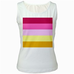 Red Orange Yellow Pink Sunny Color Combo Striped Pattern Stripes Women s White Tank Top