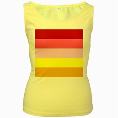 Red Orange Yellow Pink Sunny Color Combo Striped Pattern Stripes Women s Yellow Tank Top