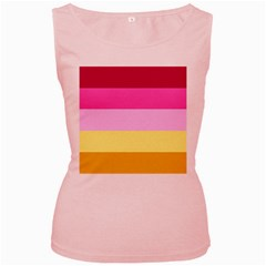 Red Orange Yellow Pink Sunny Color Combo Striped Pattern Stripes Women s Pink Tank Top