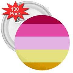 Red Orange Yellow Pink Sunny Color Combo Striped Pattern Stripes 3  Buttons (100 Pack)