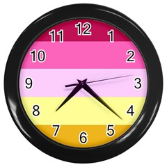 Red Orange Yellow Pink Sunny Color Combo Striped Pattern Stripes Wall Clocks (black)