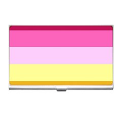 Red Orange Yellow Pink Sunny Color Combo Striped Pattern Stripes Business Card Holders