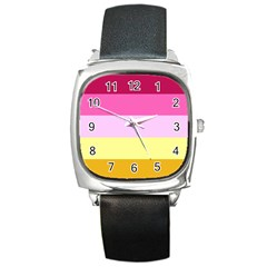 Red Orange Yellow Pink Sunny Color Combo Striped Pattern Stripes Square Metal Watch