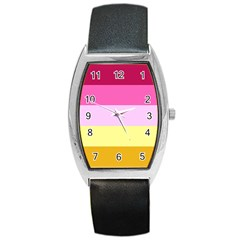 Red Orange Yellow Pink Sunny Color Combo Striped Pattern Stripes Barrel Style Metal Watch