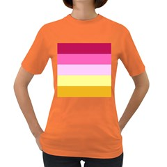 Red Orange Yellow Pink Sunny Color Combo Striped Pattern Stripes Women s Dark T Shirt