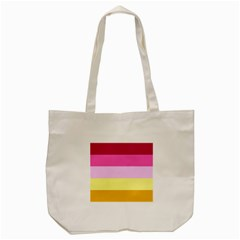 Red Orange Yellow Pink Sunny Color Combo Striped Pattern Stripes Tote Bag (cream)