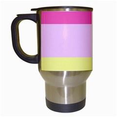 Red Orange Yellow Pink Sunny Color Combo Striped Pattern Stripes Travel Mugs (white)