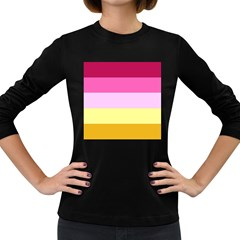 Red Orange Yellow Pink Sunny Color Combo Striped Pattern Stripes Women s Long Sleeve Dark T Shirts by yoursparklingshop