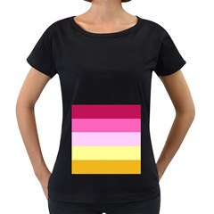 Red Orange Yellow Pink Sunny Color Combo Striped Pattern Stripes Women s Loose Fit T Shirt (black)
