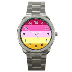 Red Orange Yellow Pink Sunny Color Combo Striped Pattern Stripes Sport Metal Watch