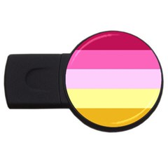 Red Orange Yellow Pink Sunny Color Combo Striped Pattern Stripes Usb Flash Drive Round (4 Gb)