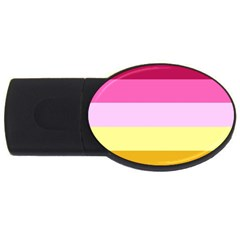 Red Orange Yellow Pink Sunny Color Combo Striped Pattern Stripes Usb Flash Drive Oval (4 Gb)