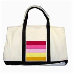 Red Orange Yellow Pink Sunny Color Combo Striped Pattern Stripes Two Tone Tote Bag