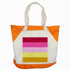 Red Orange Yellow Pink Sunny Color Combo Striped Pattern Stripes Accent Tote Bag