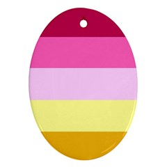 Red Orange Yellow Pink Sunny Color Combo Striped Pattern Stripes Oval Ornament (two Sides)