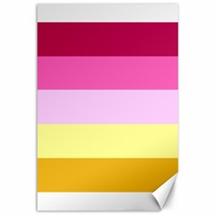Red Orange Yellow Pink Sunny Color Combo Striped Pattern Stripes Canvas 12  X 18