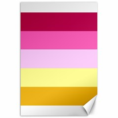 Red Orange Yellow Pink Sunny Color Combo Striped Pattern Stripes Canvas 20  X 30