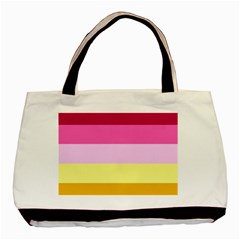 Red Orange Yellow Pink Sunny Color Combo Striped Pattern Stripes Basic Tote Bag (two Sides)