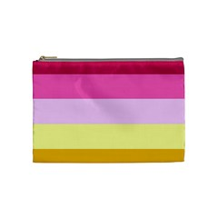 Red Orange Yellow Pink Sunny Color Combo Striped Pattern Stripes Cosmetic Bag (medium)