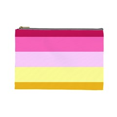 Red Orange Yellow Pink Sunny Color Combo Striped Pattern Stripes Cosmetic Bag (large)
