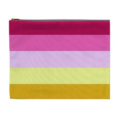 Red Orange Yellow Pink Sunny Color Combo Striped Pattern Stripes Cosmetic Bag (xl)