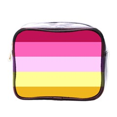 Red Orange Yellow Pink Sunny Color Combo Striped Pattern Stripes Mini Toiletries Bags