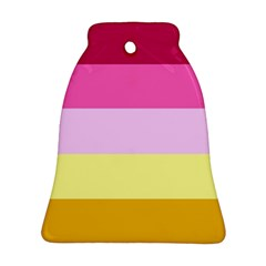 Red Orange Yellow Pink Sunny Color Combo Striped Pattern Stripes Ornament (bell)