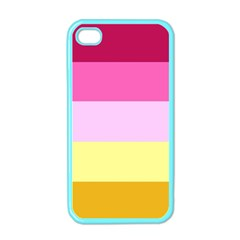 Red Orange Yellow Pink Sunny Color Combo Striped Pattern Stripes Apple Iphone 4 Case (color)