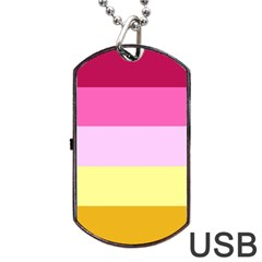 Red Orange Yellow Pink Sunny Color Combo Striped Pattern Stripes Dog Tag Usb Flash (one Side)