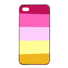 Red Orange Yellow Pink Sunny Color Combo Striped Pattern Stripes Apple Iphone 4/4s Seamless Case (black)