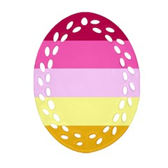 Red Orange Yellow Pink Sunny Color Combo Striped Pattern Stripes Oval Filigree Ornament (two Sides)
