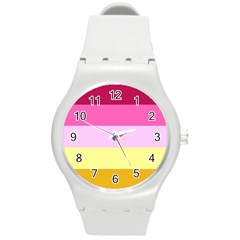 Red Orange Yellow Pink Sunny Color Combo Striped Pattern Stripes Round Plastic Sport Watch (m)