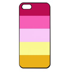 Red Orange Yellow Pink Sunny Color Combo Striped Pattern Stripes Apple Iphone 5 Seamless Case (black)