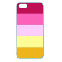 Red Orange Yellow Pink Sunny Color Combo Striped Pattern Stripes Apple Seamless Iphone 5 Case (color)