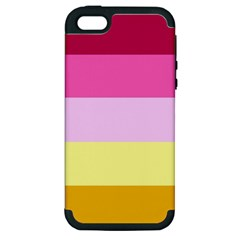 Red Orange Yellow Pink Sunny Color Combo Striped Pattern Stripes Apple Iphone 5 Hardshell Case (pc+silicone)