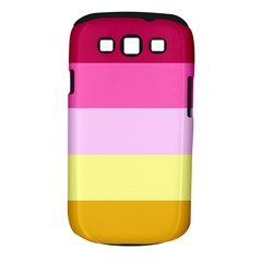 Red Orange Yellow Pink Sunny Color Combo Striped Pattern Stripes Samsung Galaxy S Iii Classic Hardshell Case (pc+silicone)