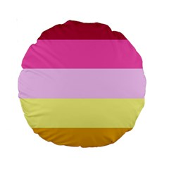 Red Orange Yellow Pink Sunny Color Combo Striped Pattern Stripes Standard 15  Premium Round Cushions