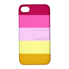 Red Orange Yellow Pink Sunny Color Combo Striped Pattern Stripes Apple Iphone 4/4s Hardshell Case With Stand