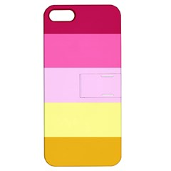 Red Orange Yellow Pink Sunny Color Combo Striped Pattern Stripes Apple Iphone 5 Hardshell Case With Stand