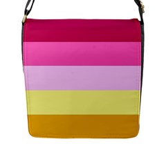 Red Orange Yellow Pink Sunny Color Combo Striped Pattern Stripes Flap Messenger Bag (l)