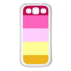 Red Orange Yellow Pink Sunny Color Combo Striped Pattern Stripes Samsung Galaxy S3 Back Case (white)